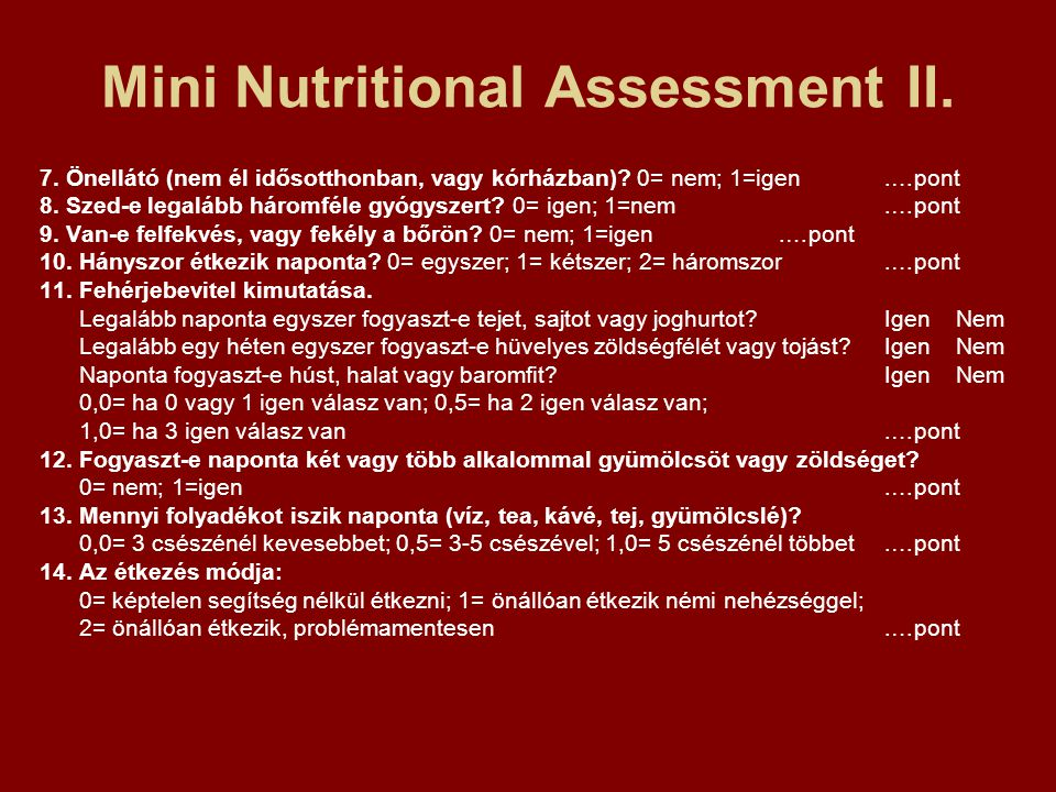 Mini Nutritional Assessment II.