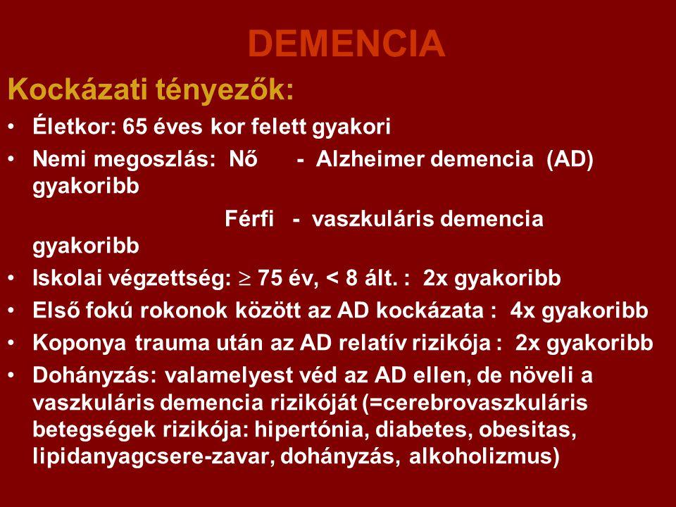 DEMENCIA Kockázati tényezők: Életkor: 65 éves kor felett gyakori