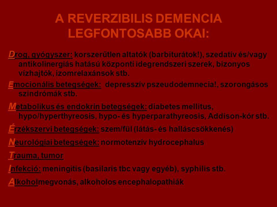 A REVERZIBILIS DEMENCIA LEGFONTOSABB OKAI: