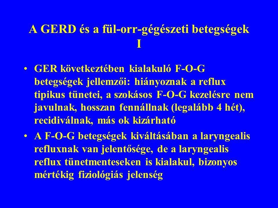 A GERD és a fül-orr-gégészeti betegségek I