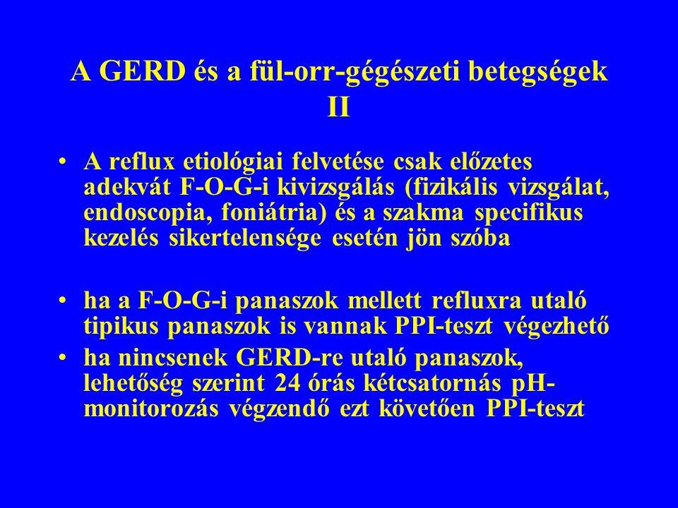 A GERD és a fül-orr-gégészeti betegségek II