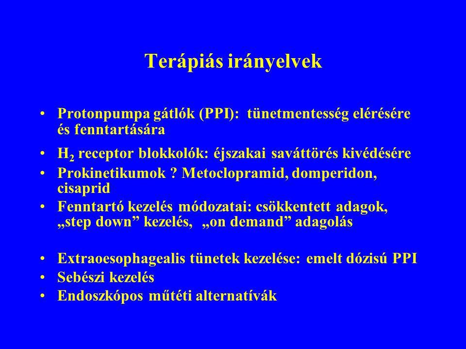 Terápiás irányelvek Protonpumpa gátlók (PPI): tünetmentesség elérésére és fenntartására. H2 receptor blokkolók: éjszakai saváttörés kivédésére.