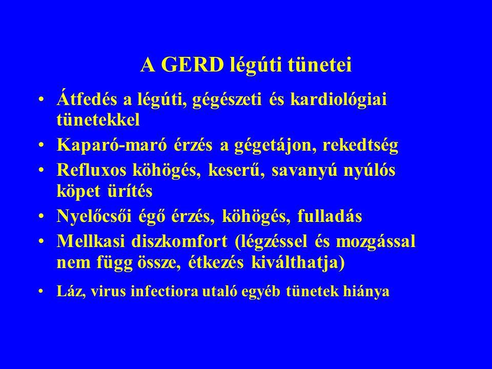 A GERD légúti tünetei Átfedés a légúti, gégészeti és kardiológiai tünetekkel. Kaparó-maró érzés a gégetájon, rekedtség.