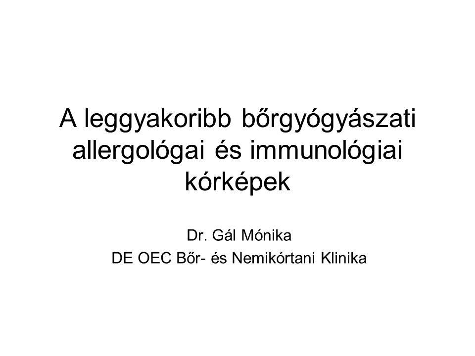 A leggyakoribb bőrgyógyászati allergológai és immunológiai kórképek