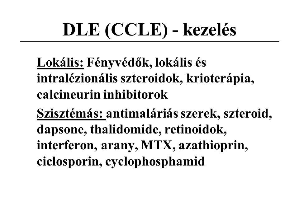 DLE (CCLE) - kezelés Lokális: Fényvédők, lokális és intralézionális szteroidok, krioterápia, calcineurin inhibitorok.