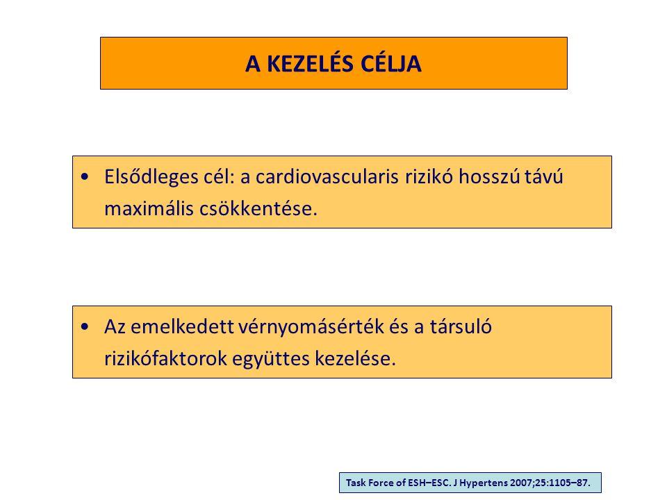 A KEZELÉS CÉLJA Elsődleges cél: a cardiovascularis rizikó hosszú távú maximális csökkentése.