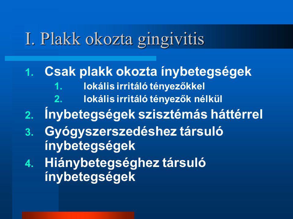 I. Plakk okozta gingivitis