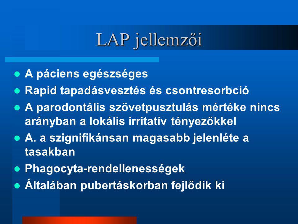 LAP jellemzői A páciens egészséges