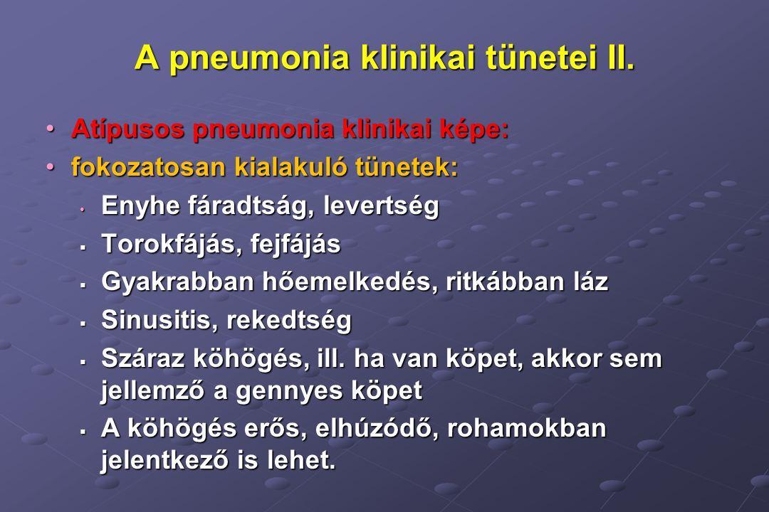 A pneumonia klinikai tünetei II.