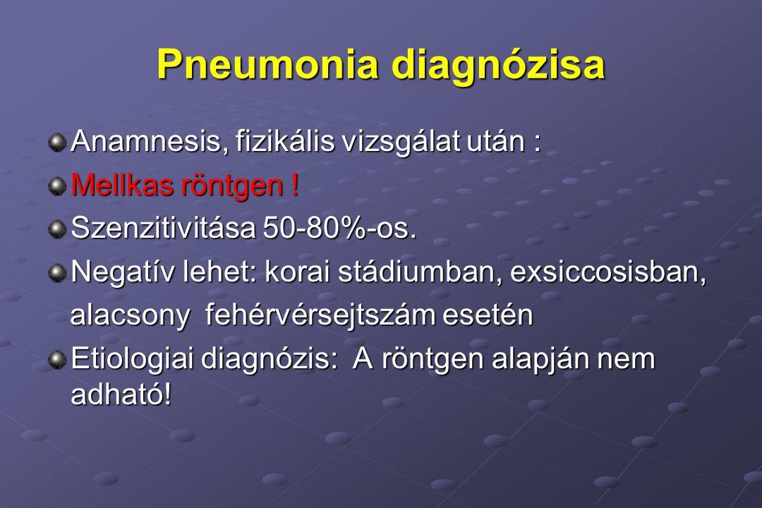 Pneumonia diagnózisa Anamnesis, fizikális vizsgálat után :