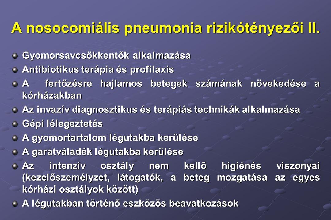 A nosocomiális pneumonia rizikótényezői II.