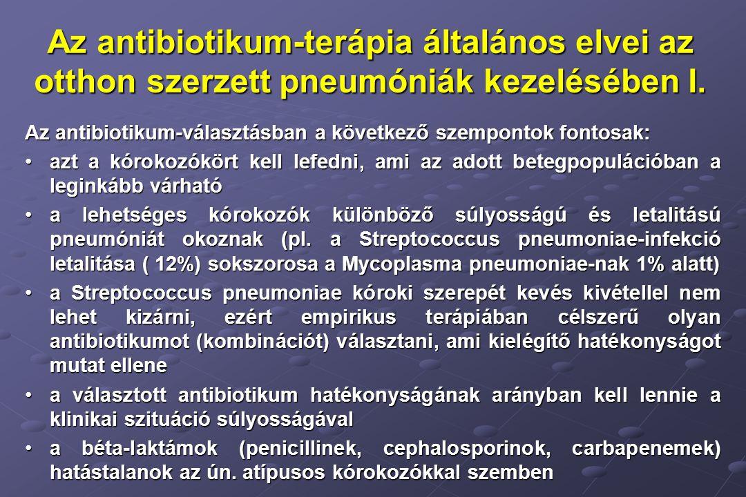 Az antibiotikum-terápia általános elvei az otthon szerzett pneumóniák kezelésében I.