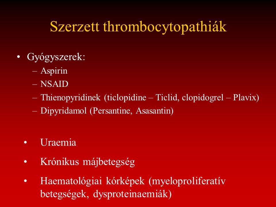 Szerzett thrombocytopathiák