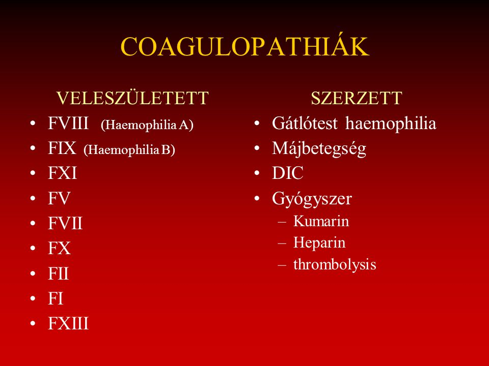 COAGULOPATHIÁK VELESZÜLETETT FVIII (Haemophilia A) FIX (Haemophilia B)