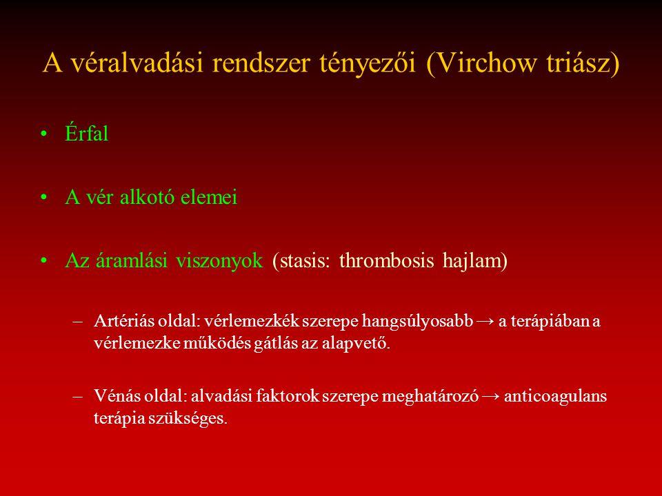 A véralvadási rendszer tényezői (Virchow triász)