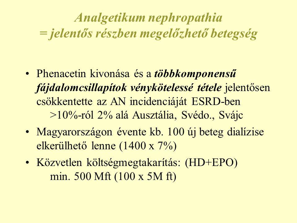Analgetikum nephropathia = jelentős részben megelőzhető betegség