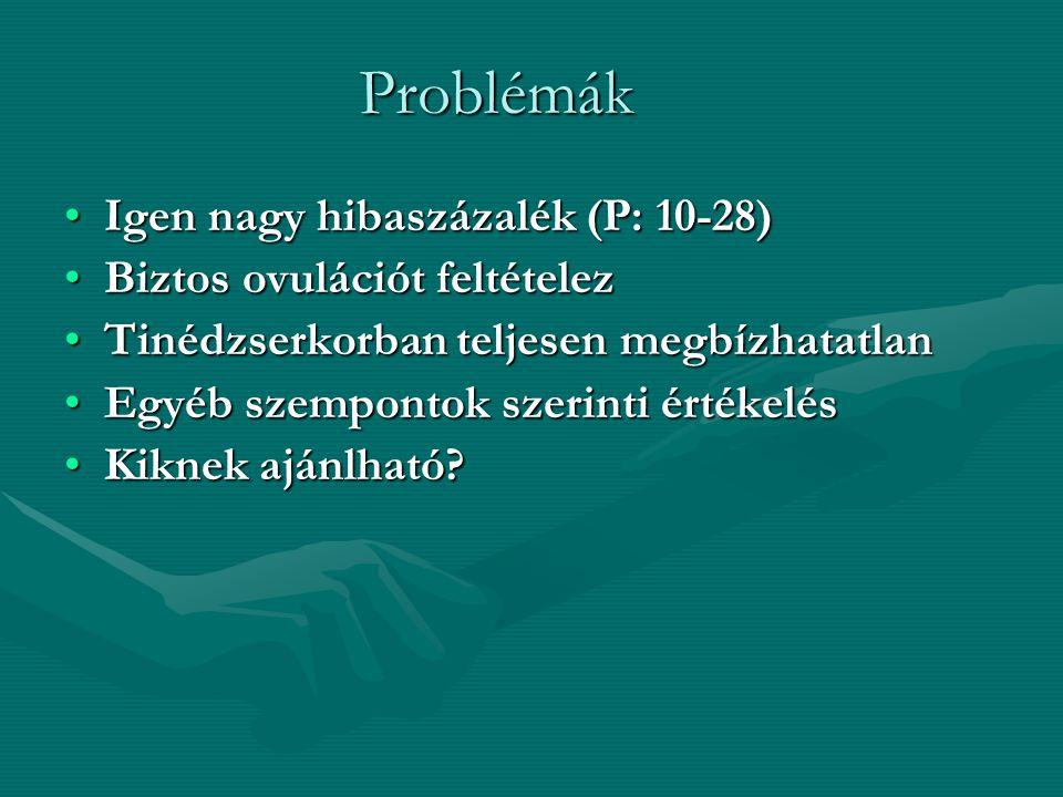 Problémák Igen nagy hibaszázalék (P: 10-28)