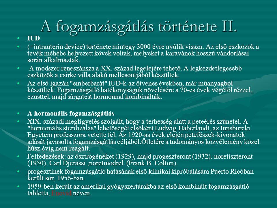 A fogamzásgátlás története II.