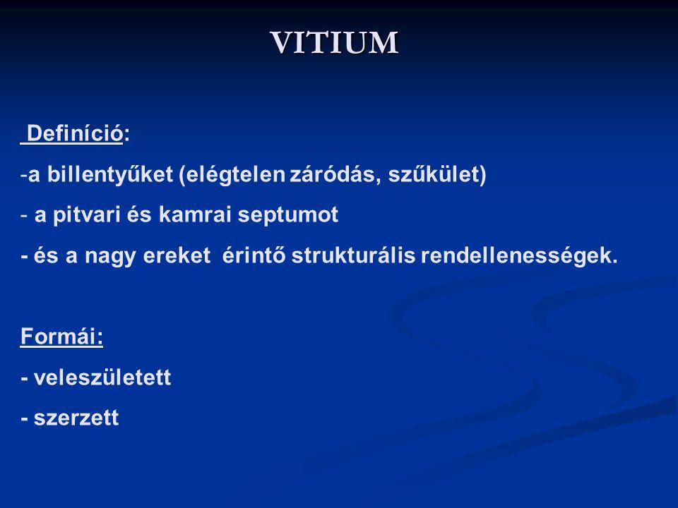 VITIUM Definíció: a billentyűket (elégtelen záródás, szűkület)