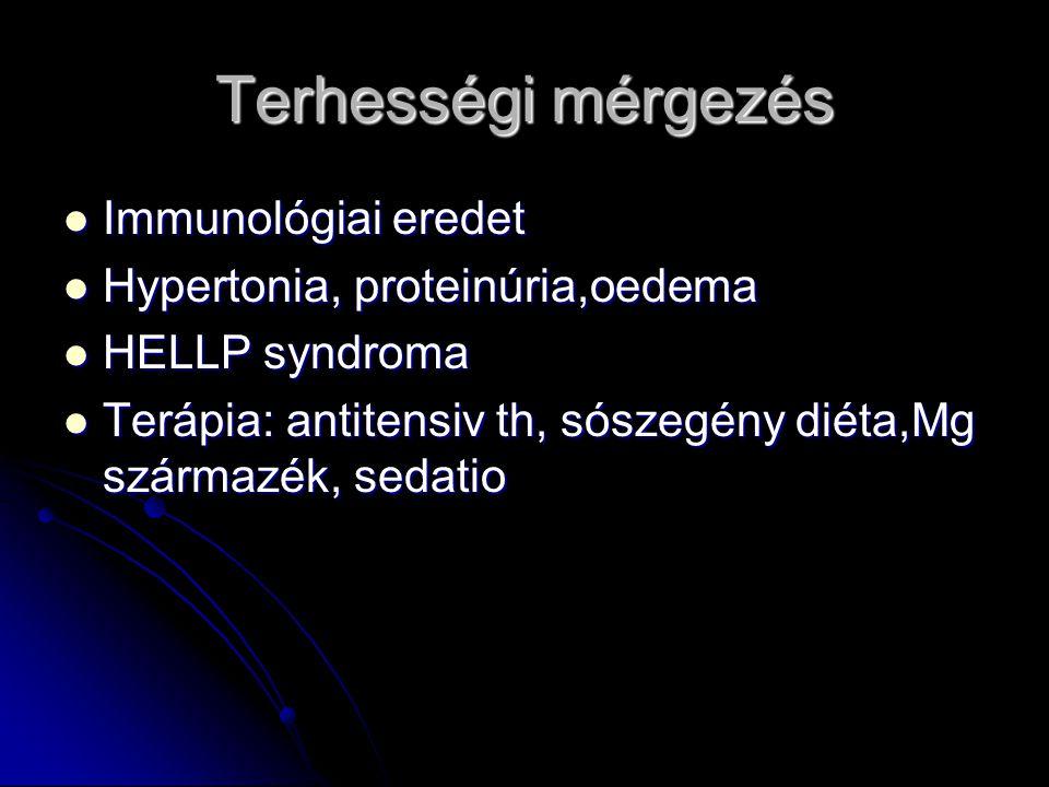Terhességi mérgezés Immunológiai eredet Hypertonia, proteinúria,oedema