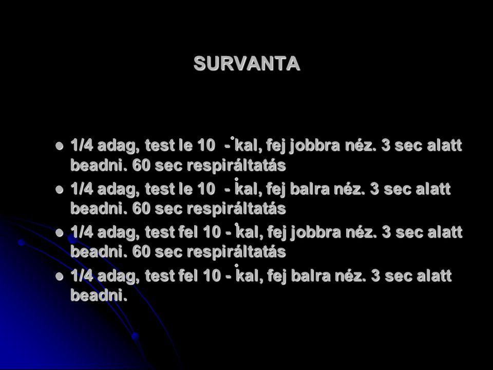 SURVANTA 1/4 adag, test le 10 - kal, fej jobbra néz. 3 sec alatt beadni. 60 sec respiráltatás.