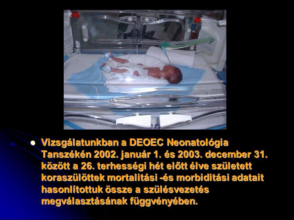 Vizsgálatunkban a DEOEC Neonatológia Tanszékén 2002. január 1. és 2003