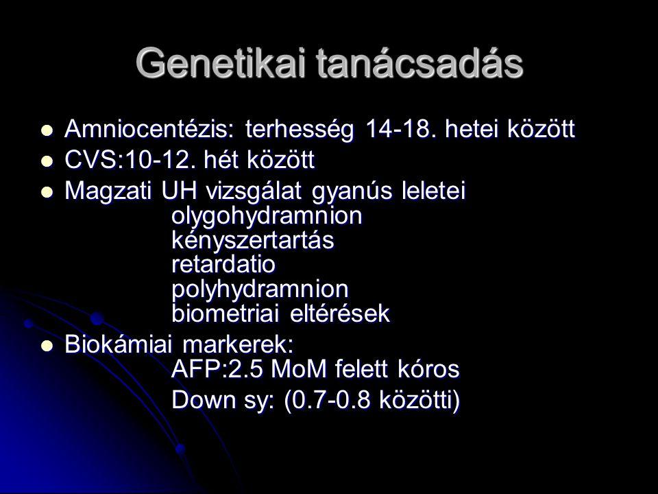Genetikai tanácsadás Amniocentézis: terhesség 14-18. hetei között