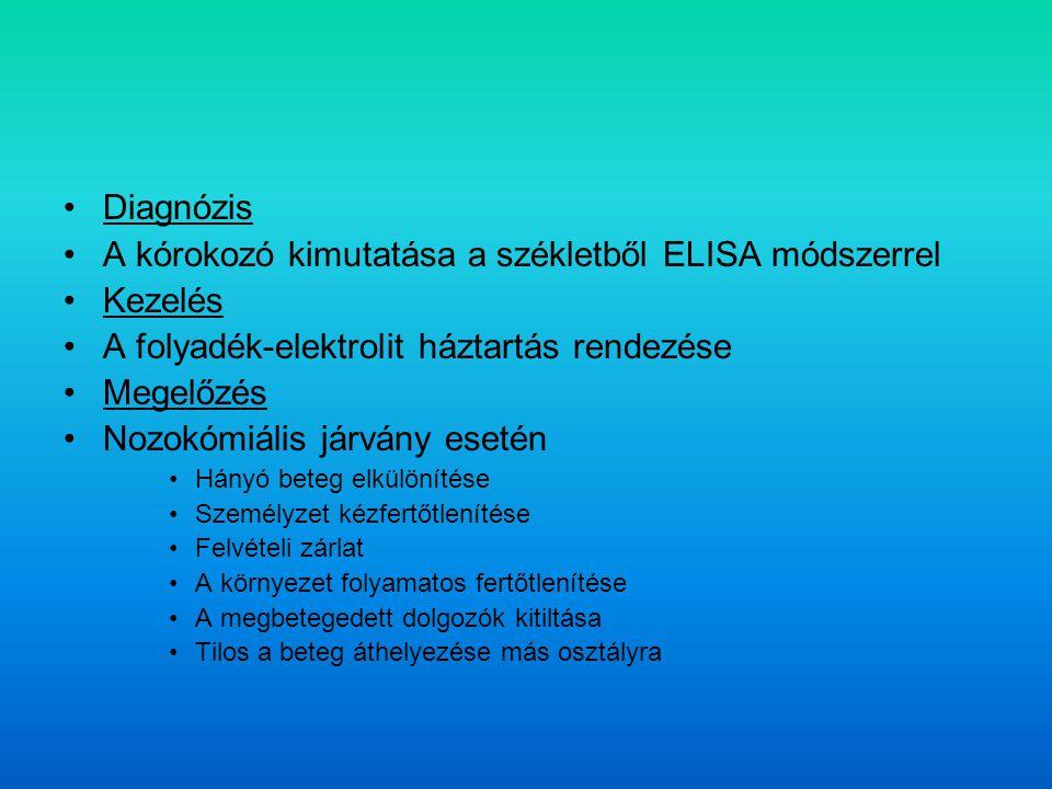 A kórokozó kimutatása a székletből ELISA módszerrel Kezelés