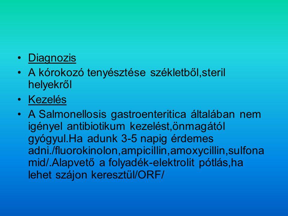 Diagnozis A kórokozó tenyésztése székletből,steril helyekről. Kezelés.