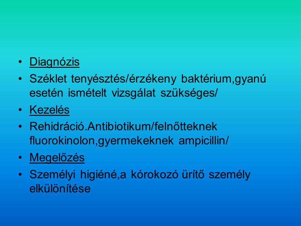 Diagnózis Széklet tenyésztés/érzékeny baktérium,gyanú esetén ismételt vizsgálat szükséges/ Kezelés.