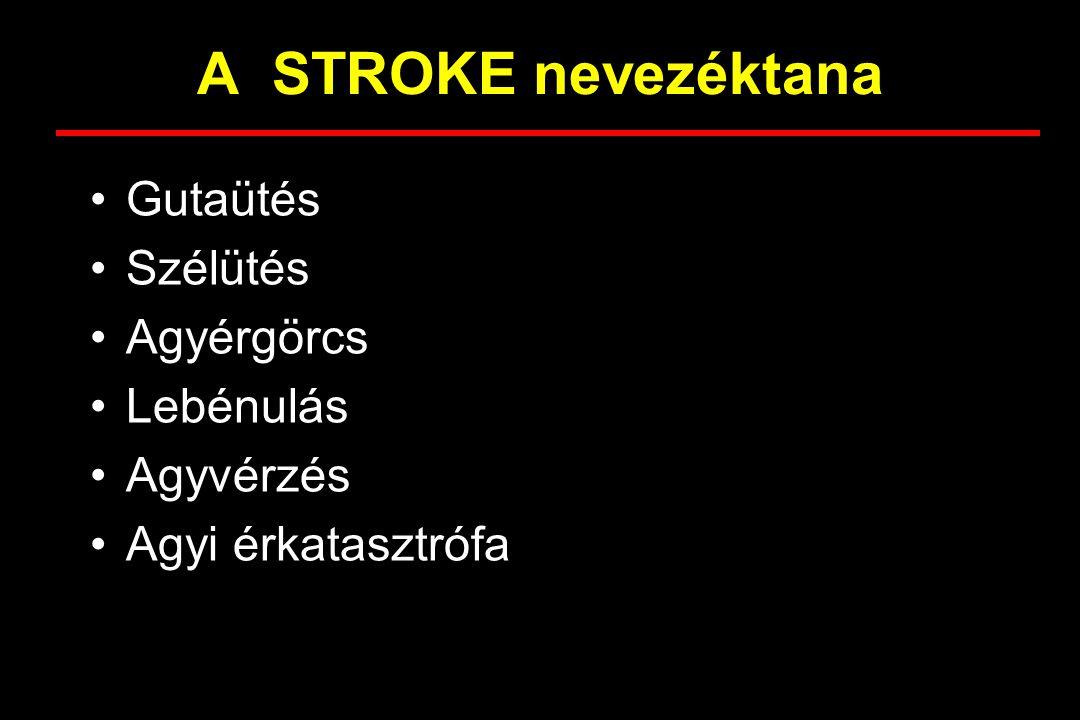 A STROKE nevezéktana Gutaütés Szélütés Agyérgörcs Lebénulás Agyvérzés