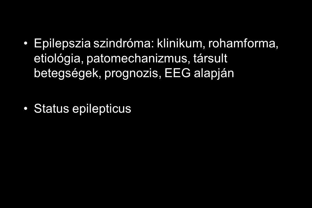 Epilepszia szindróma: klinikum, rohamforma, etiológia, patomechanizmus, társult betegségek, prognozis, EEG alapján