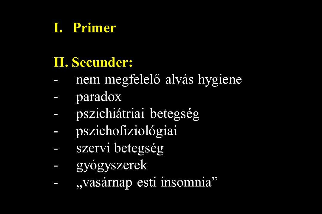 Primer II. Secunder: nem megfelelő alvás hygiene. paradox. pszichiátriai betegség. pszichofiziológiai.