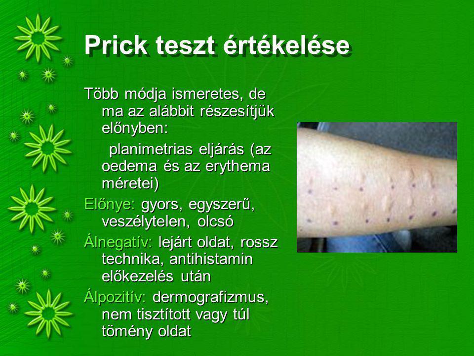 Prick teszt értékelése