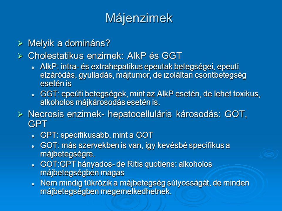 Májenzimek Melyik a domináns Cholestatikus enzimek: AlkP és GGT