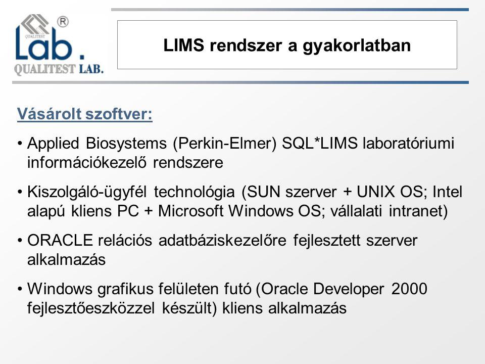 LIMS rendszer a gyakorlatban