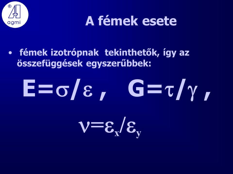 E=/ , G=/ , =x/y A fémek esete