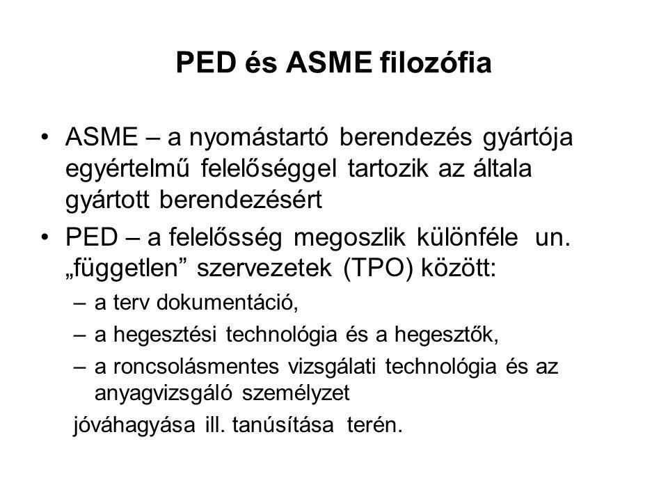 PED és ASME filozófia ASME – a nyomástartó berendezés gyártója egyértelmű felelőséggel tartozik az általa gyártott berendezésért.