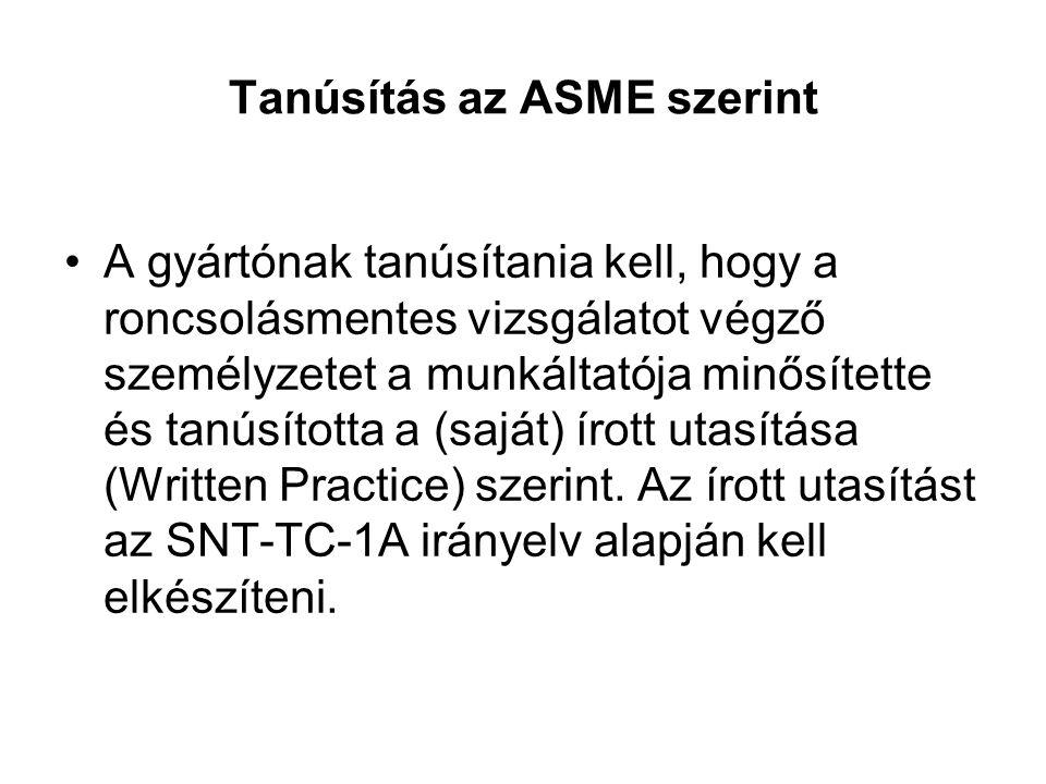 Tanúsítás az ASME szerint