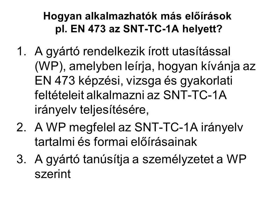 Hogyan alkalmazhatók más előírások pl. EN 473 az SNT-TC-1A helyett