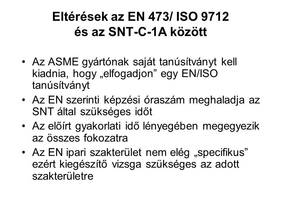 Eltérések az EN 473/ ISO 9712 és az SNT-C-1A között