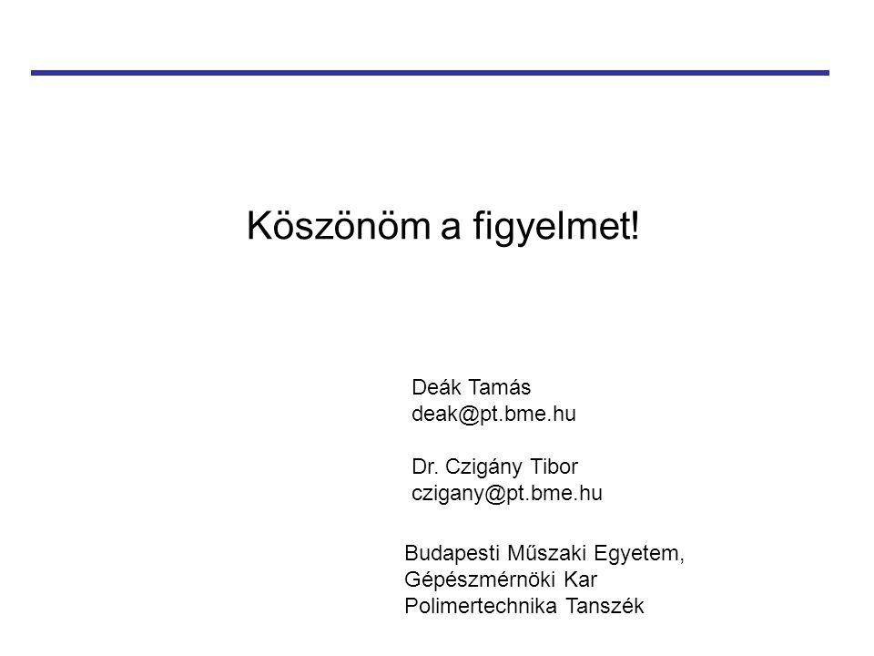 Köszönöm a figyelmet! Deák Tamás deak@pt.bme.hu Dr. Czigány Tibor