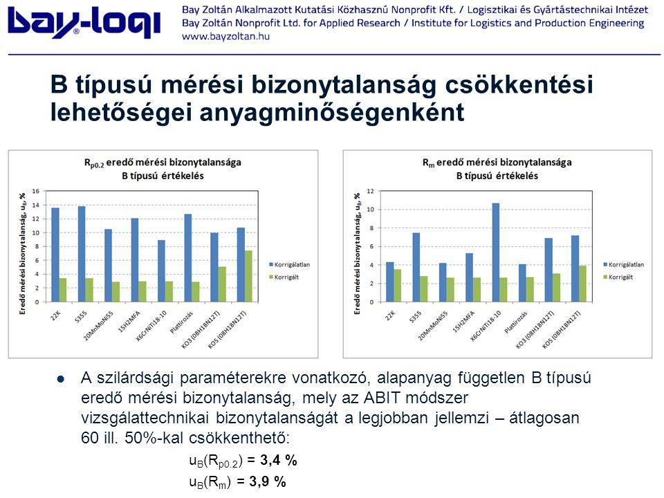 B típusú mérési bizonytalanság csökkentési lehetőségei anyagminőségenként