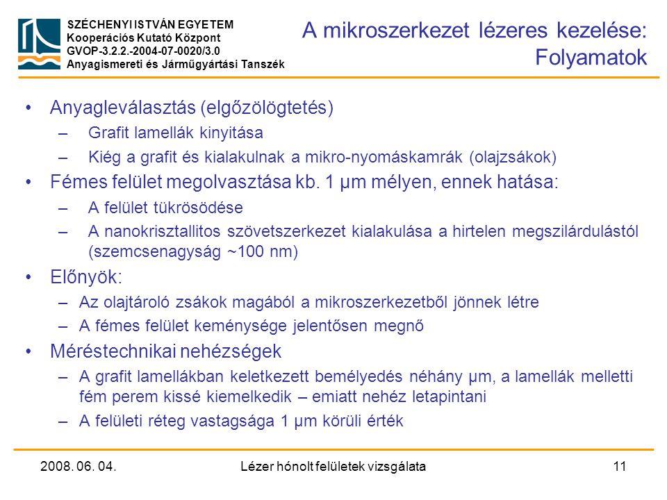A mikroszerkezet lézeres kezelése: Folyamatok