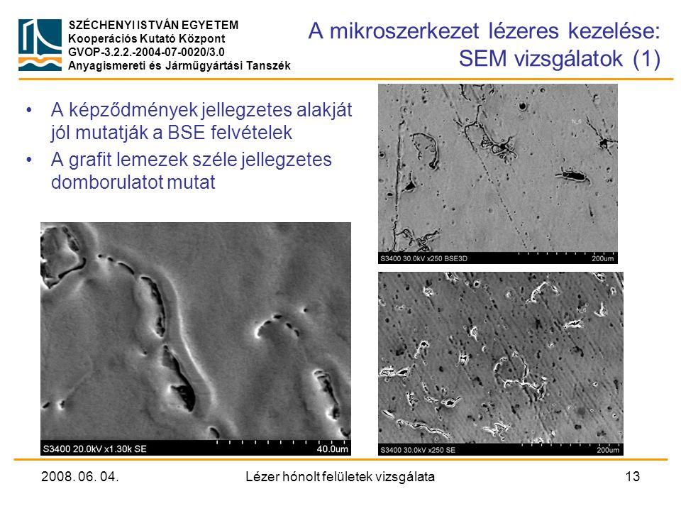 A mikroszerkezet lézeres kezelése: SEM vizsgálatok (1)