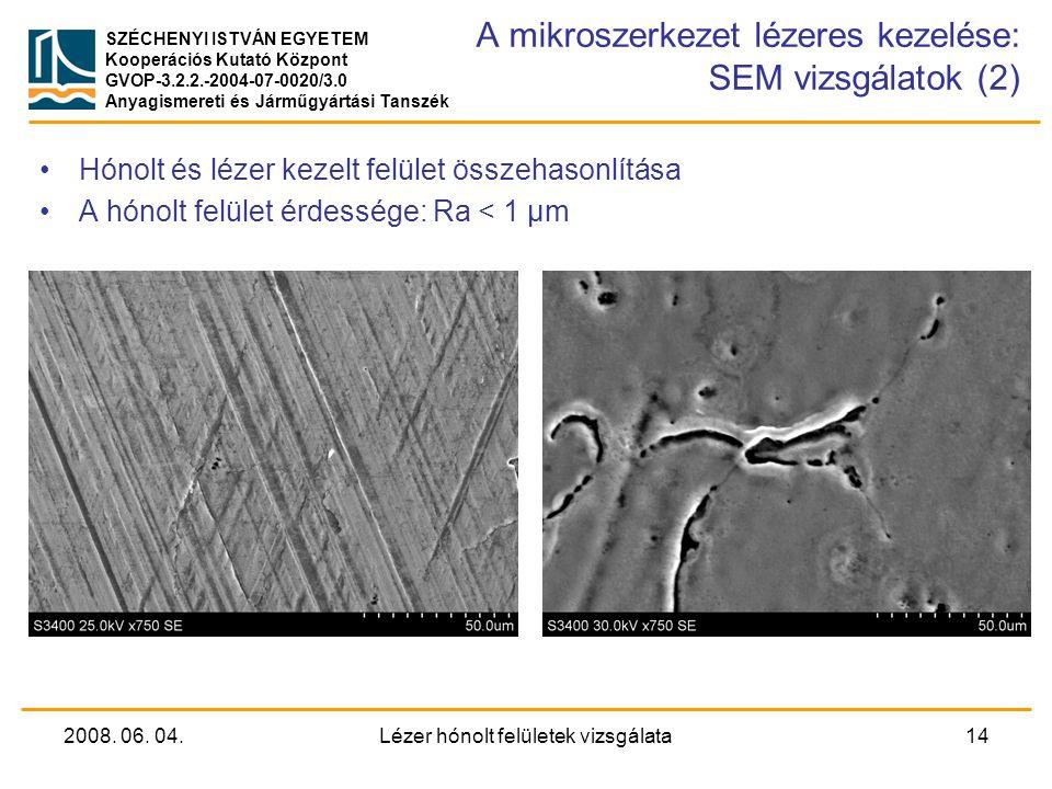 A mikroszerkezet lézeres kezelése: SEM vizsgálatok (2)