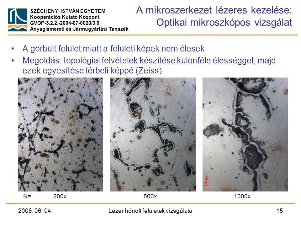 A mikroszerkezet lézeres kezelése: Optikai mikroszkópos vizsgálat