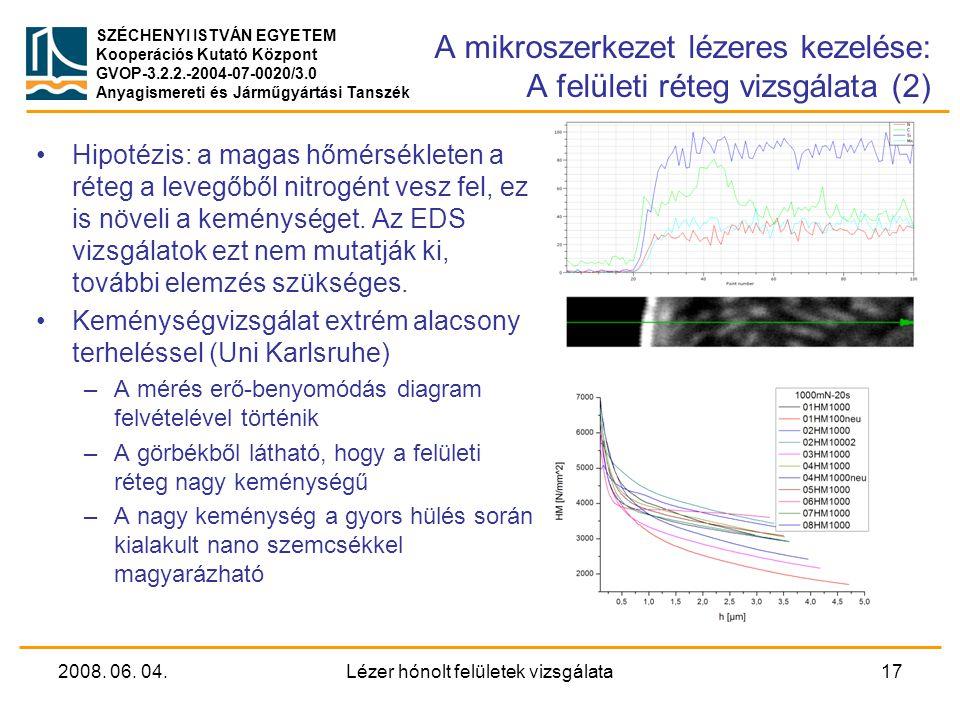 A mikroszerkezet lézeres kezelése: A felületi réteg vizsgálata (2)