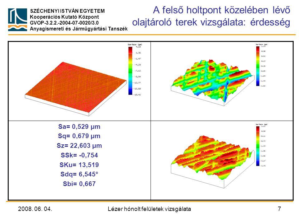 A felső holtpont közelében lévő olajtároló terek vizsgálata: érdesség