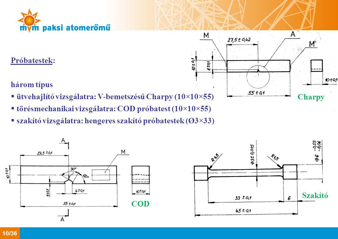 Próbatestek: három típus. ütvehajlító vizsgálatra: V-bemetszésű Charpy (10×10×55) törésmechanikai vizsgálatra: COD próbatest (10×10×55)